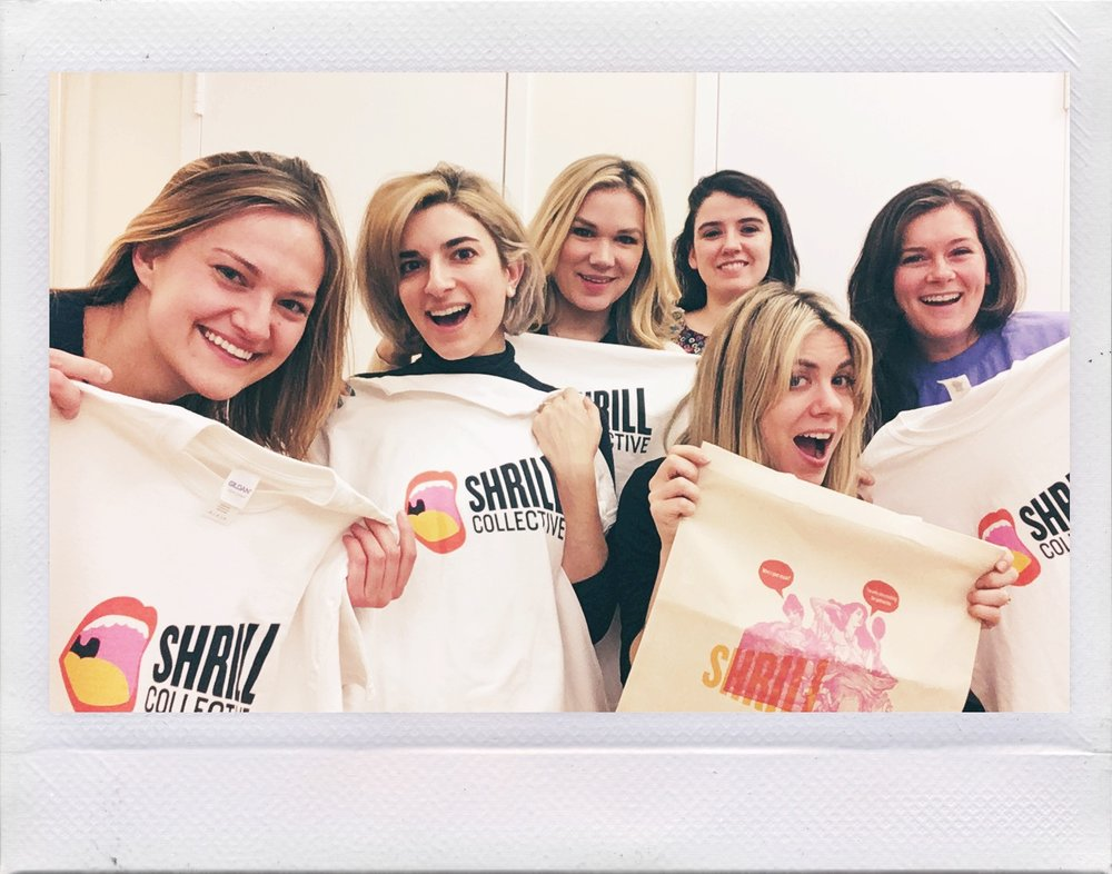 Shrill Swag  - Shrill shirts, tote bags, stickers, and buttons featuring our new logo and graphics designed by Lizzy Dee Studio will be available in our online store soon.