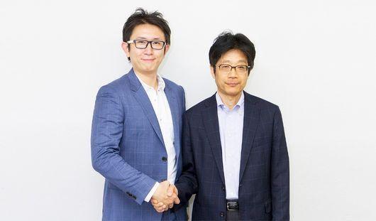Finatext日前併購Nowcast,強化大數據分析技術。執行長仍由林良太(左)擔任,東大教授兼Nowcast創辦人(右)渡邊努則是出身日本央行。(圖片來源:Finatext提供)