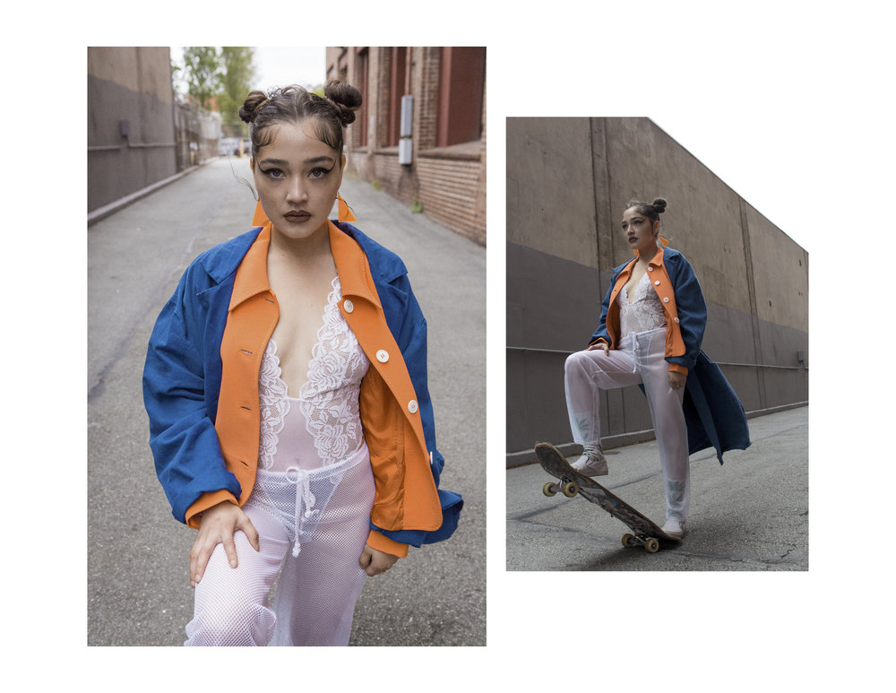French Workwear Duster Coat, M/ L, $95  |  Moschino Couture Orange Jacket, Size 10, $115  |  White Mesh Pants, S, $38