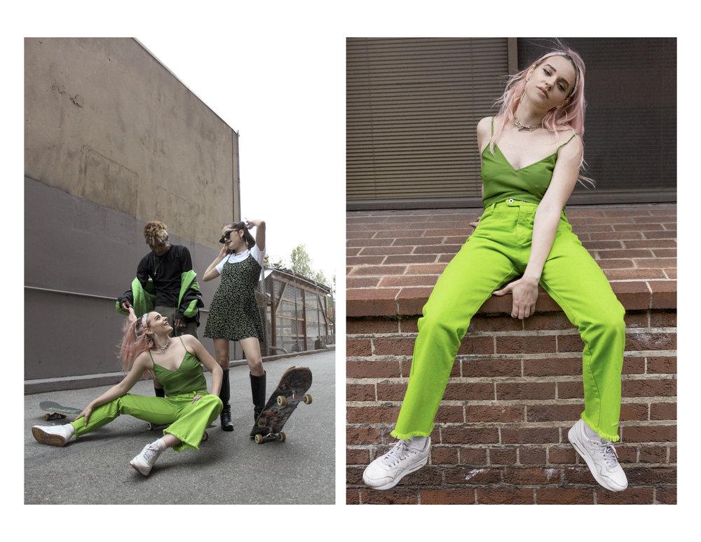 "Labonte Racing Nascar Jacket, M/ L, $65  |  Black Sportswear Tee, S, $25  |  Army Green Cut-off Shorts, 29"", $40   Green Sheer Top, S, $18  |  Lime Green Denim Pants, 31"", $40  | Deadstock Wallet Chain / Necklace, $10   Cheetah Mini Knit Dress, S20  | Deadstock Wallet Chain / Necklace, $10"