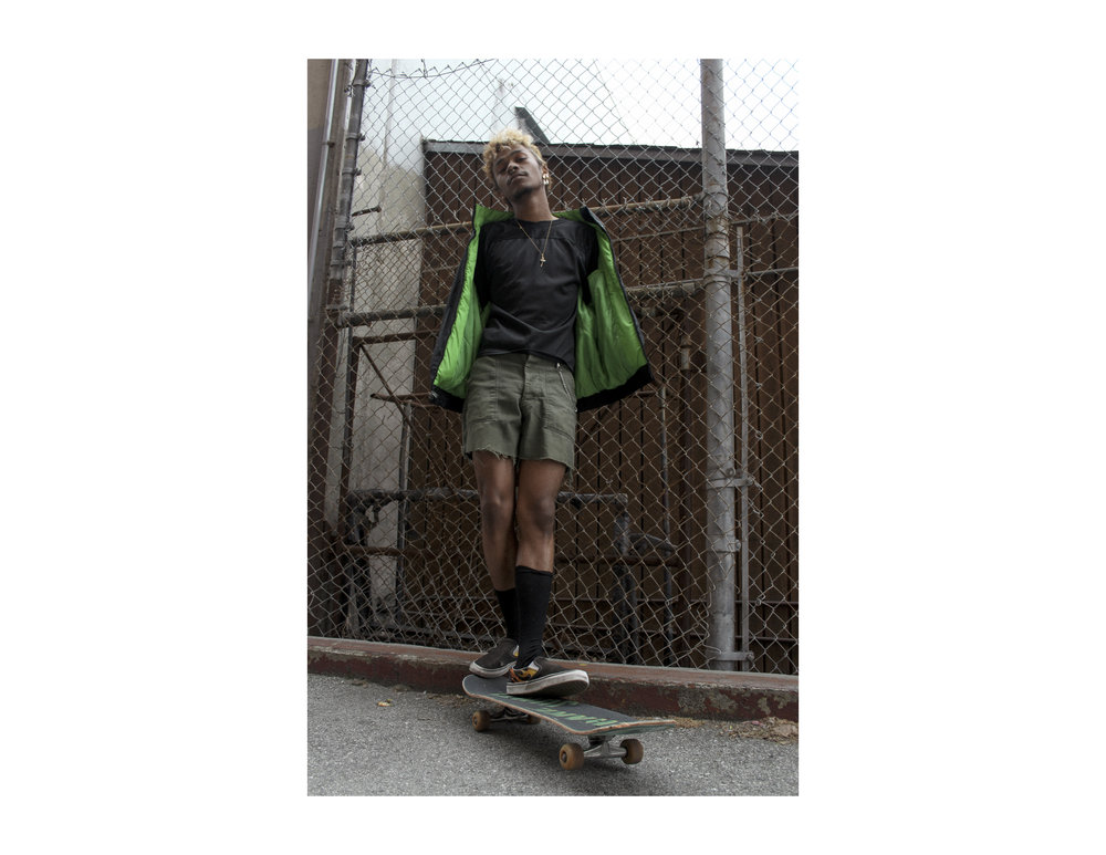 "Labonte Racing Nascar Jacket, M/ L, $65  |  Black Sportswear Tee, S, $25  |  Army Green Cut-off Shorts, 29"", $40"