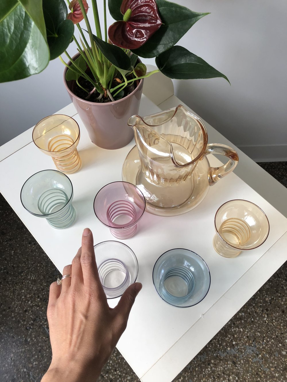 1950s Iridescent Glassware Pitcher Set, $75