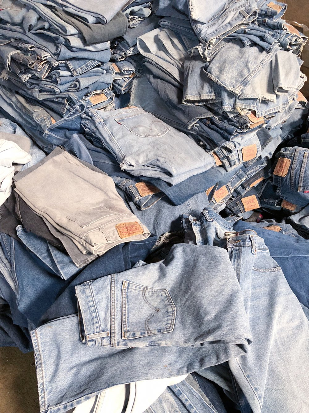 Piles of vintage denim….