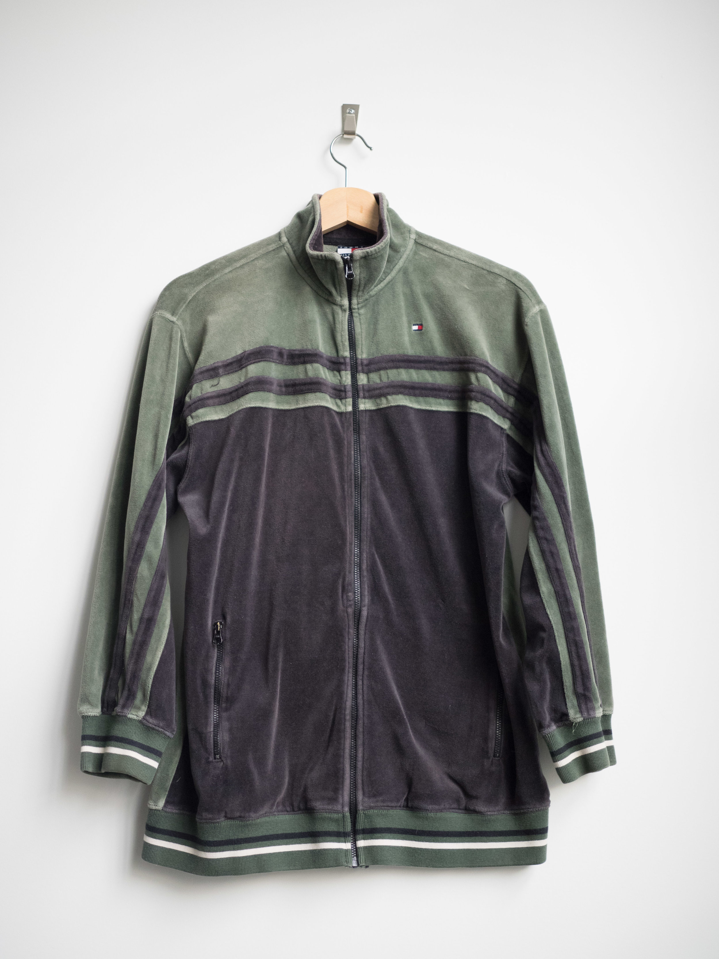 3f44e3906 M - Vintage Tommy Hilfiger Velour Track Jacket - Green/Black — THE  CONSISTENCY PROJECT