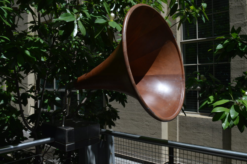 This victrola played sounds of the ocean (I think?) in a little seating area between giant fruit trees!