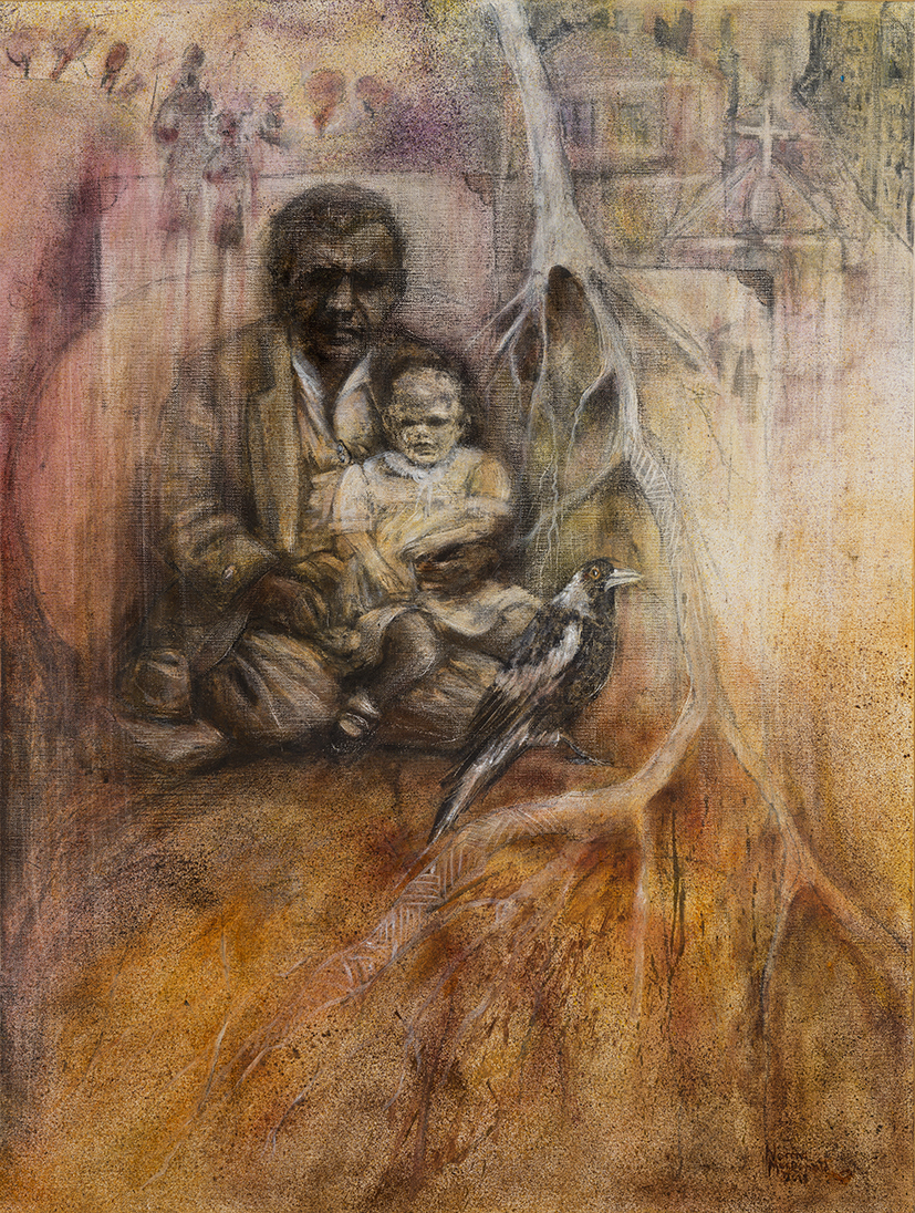 26. Norma MacDonald,  Many Layers of Life , 2019, charcoal, oil on canvas, 100 x 75 cm $2,000