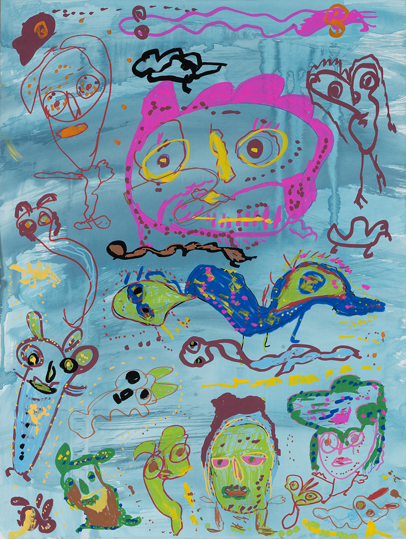 42. Mandy White,  Snake Bird Swimming with Creature ,  Scary Monster and Boogie Man,  2018, ink, acrylic on paper, 92 x 72 cm $690
