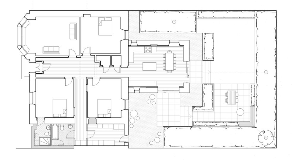 Floor plan and garden layout for alterations to an existing house in Morningside, Edinburgh by Woodside Parker Kirk architects and Nick Burton Garden Design
