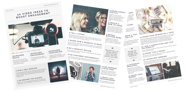 Download 20 Video Ideas to Boost Engagement Guide from Social Goals