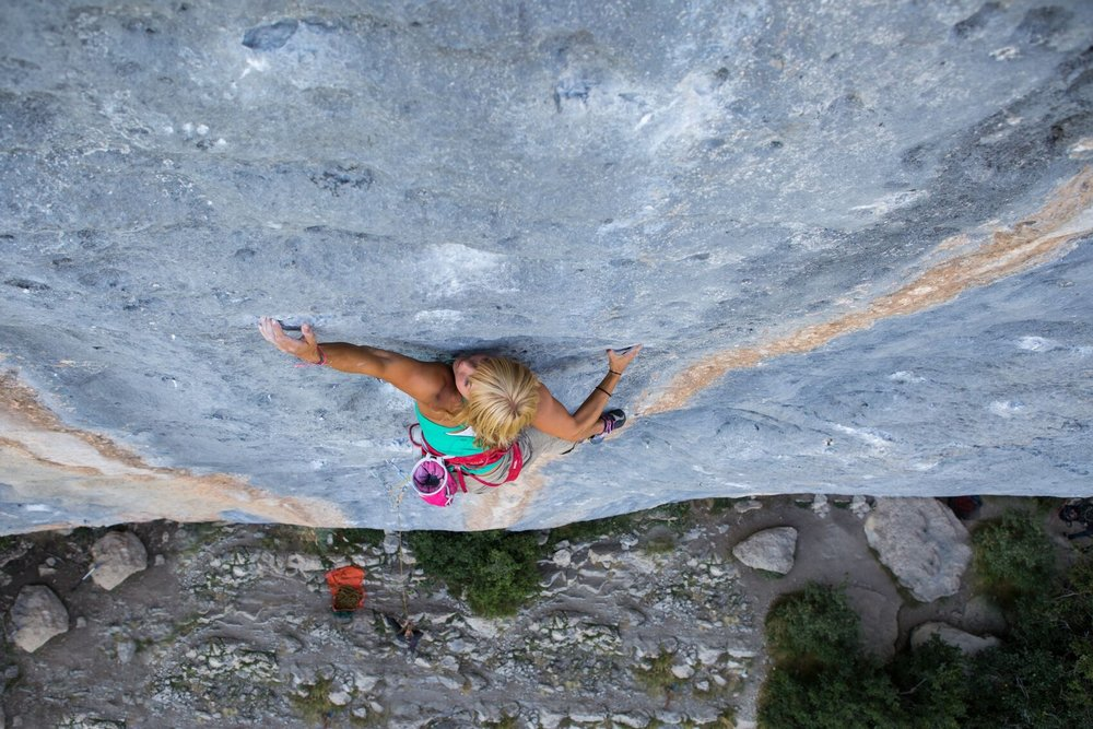 "On a send of ""Couleur du Vent, 8a"", Ceuse, France"