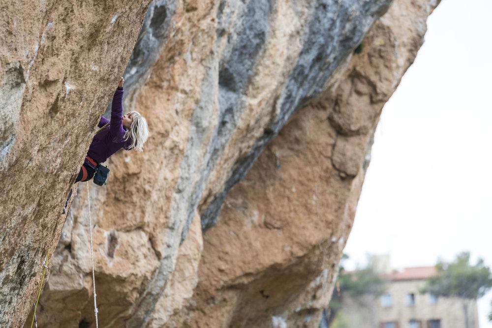 Climbing on Pati Noso, 8c+