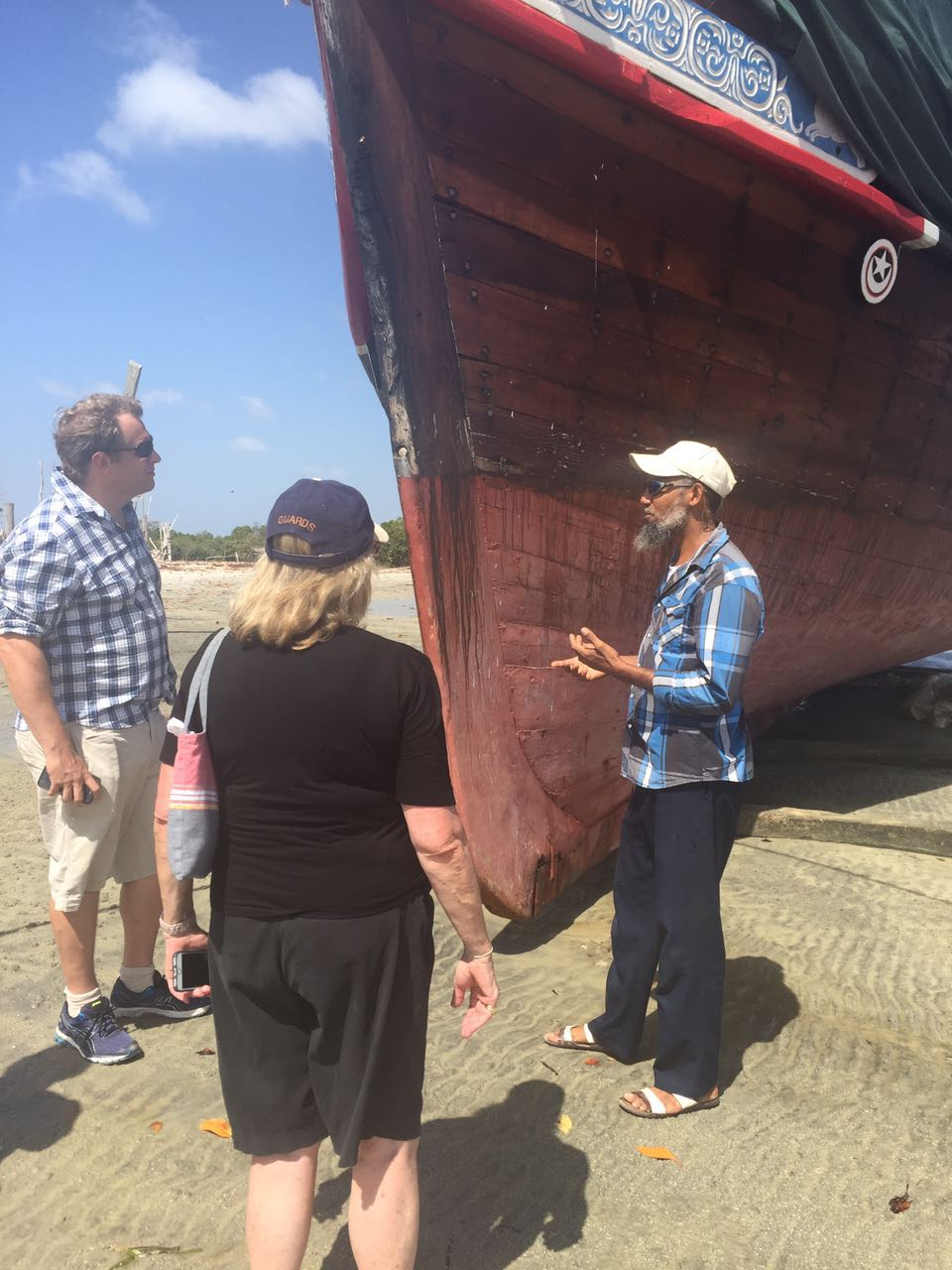 Ali explaining the significance of Dhows, and the craft of Dhow building, in Lamu's cultural heritage.