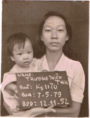Kathy Tran at seven months old with her mother in Pulau Bidong refugee camp in Malaysia.