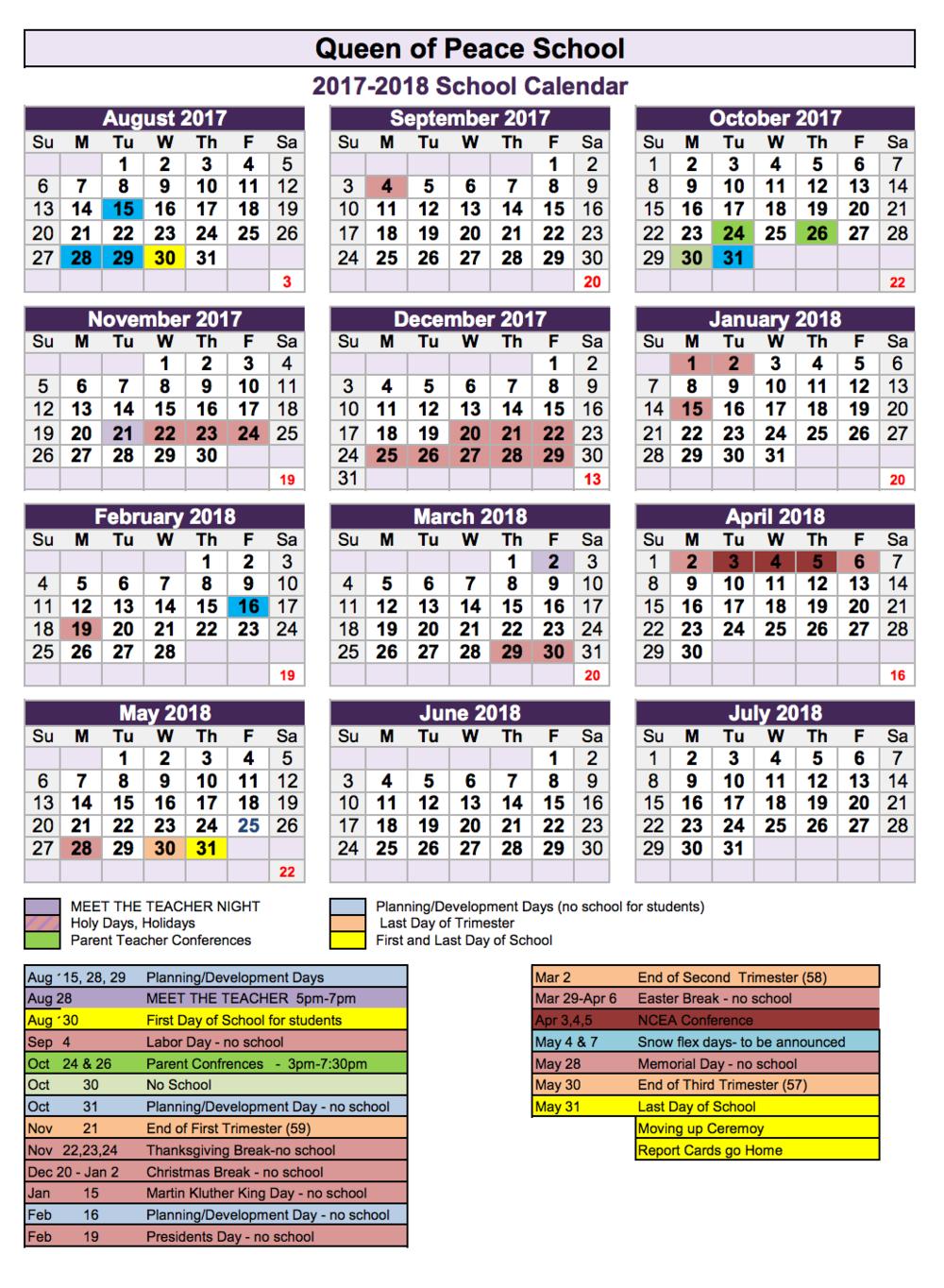 1718 QP School Calendar
