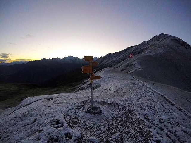 5:25 am waking up to see the Swiss Alps trails still covered by snow...