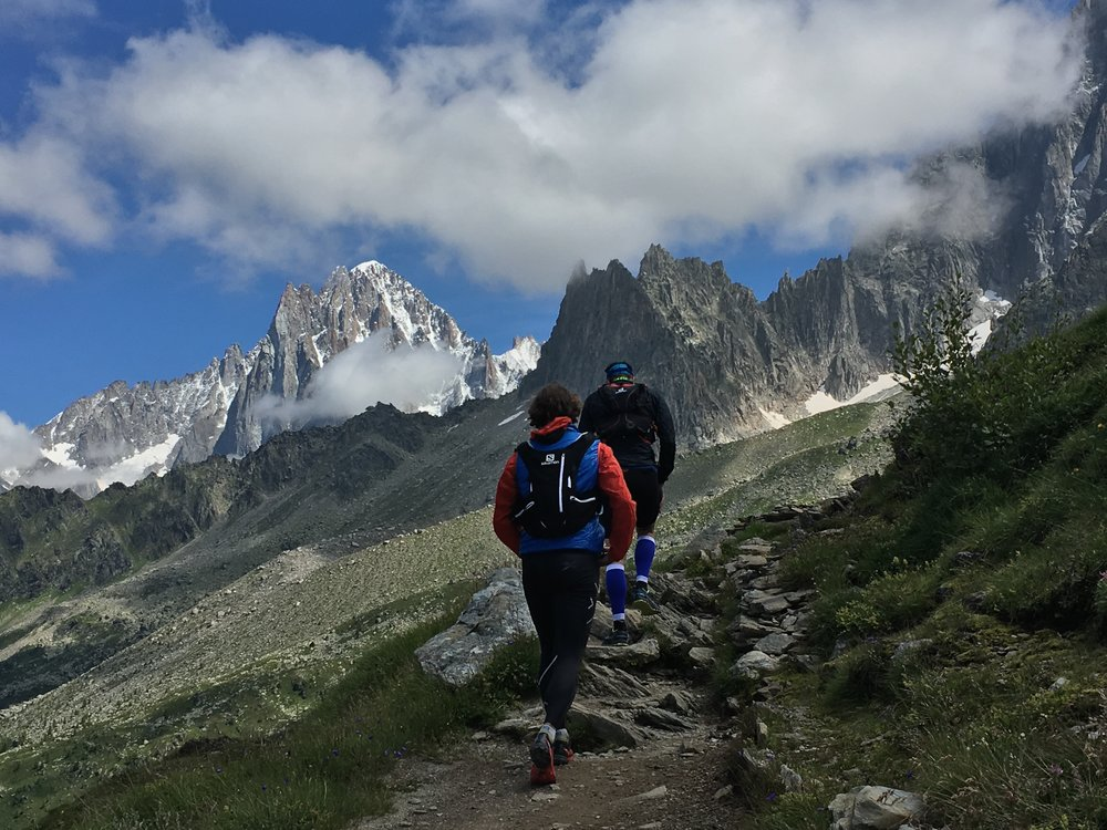Calle and Jonas trail running above Chamonix