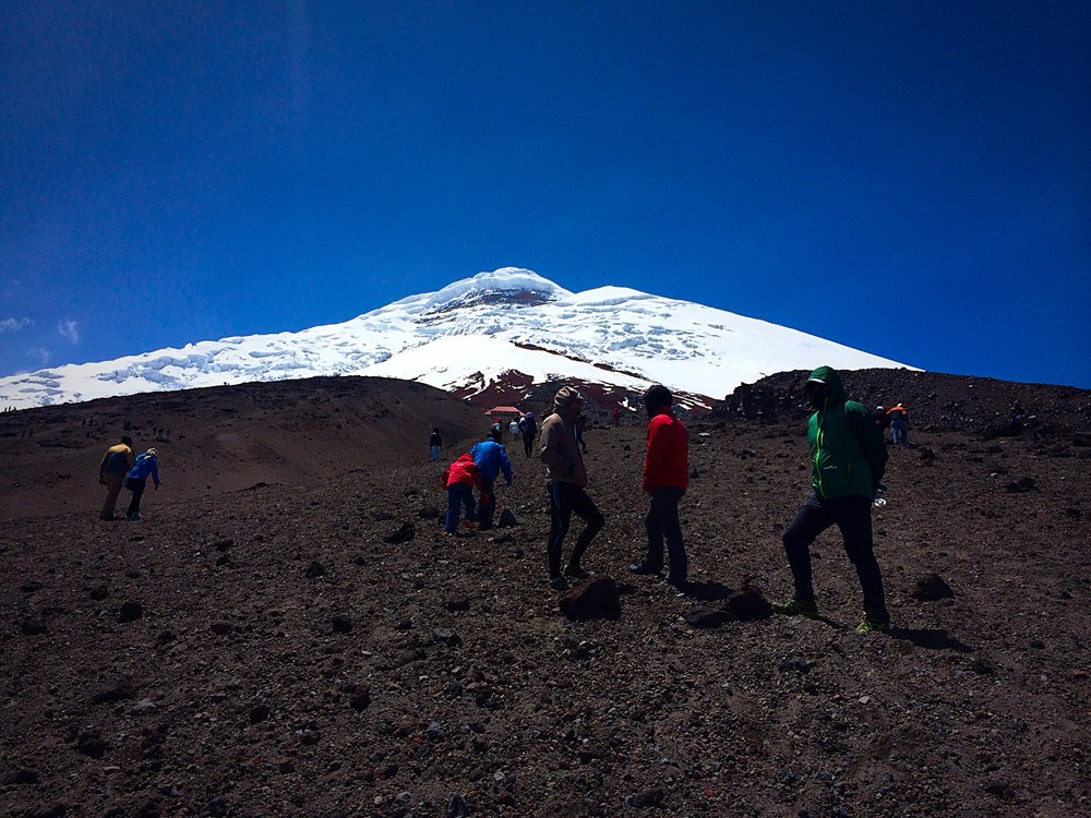 hiking to the Cotopaxi Refuge 4800 meters