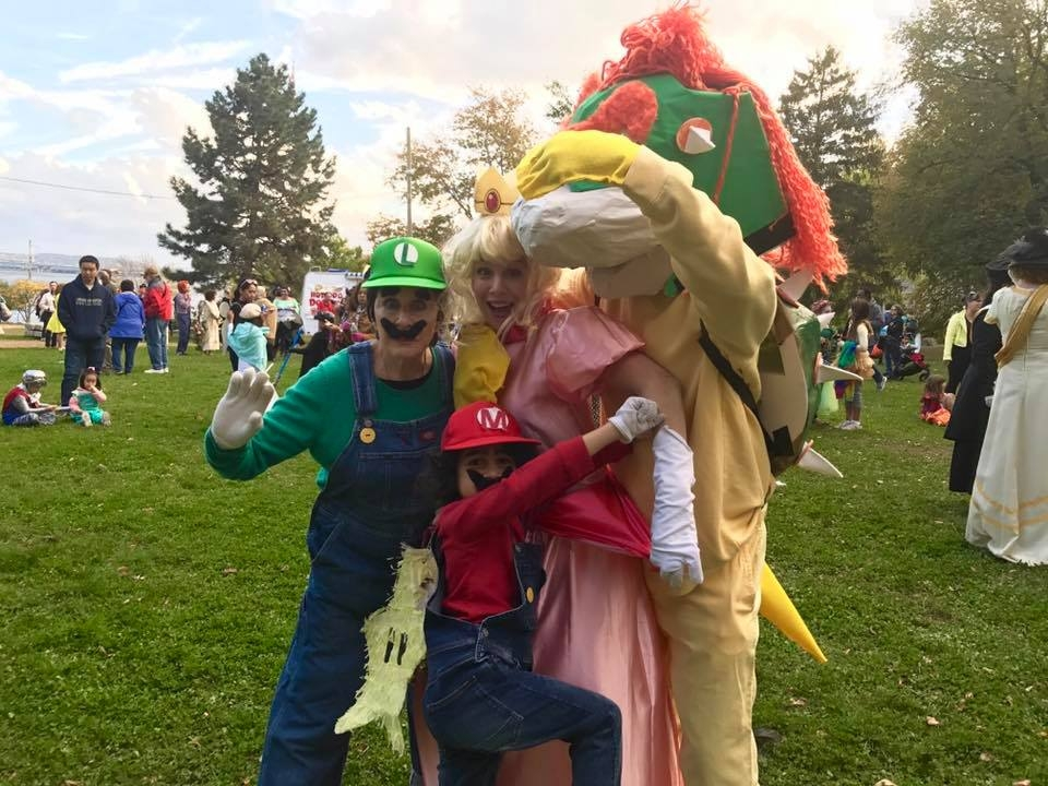 Mother-in-law as Luigi, son as Mario, wife as Princess Peach, me as Bowser.