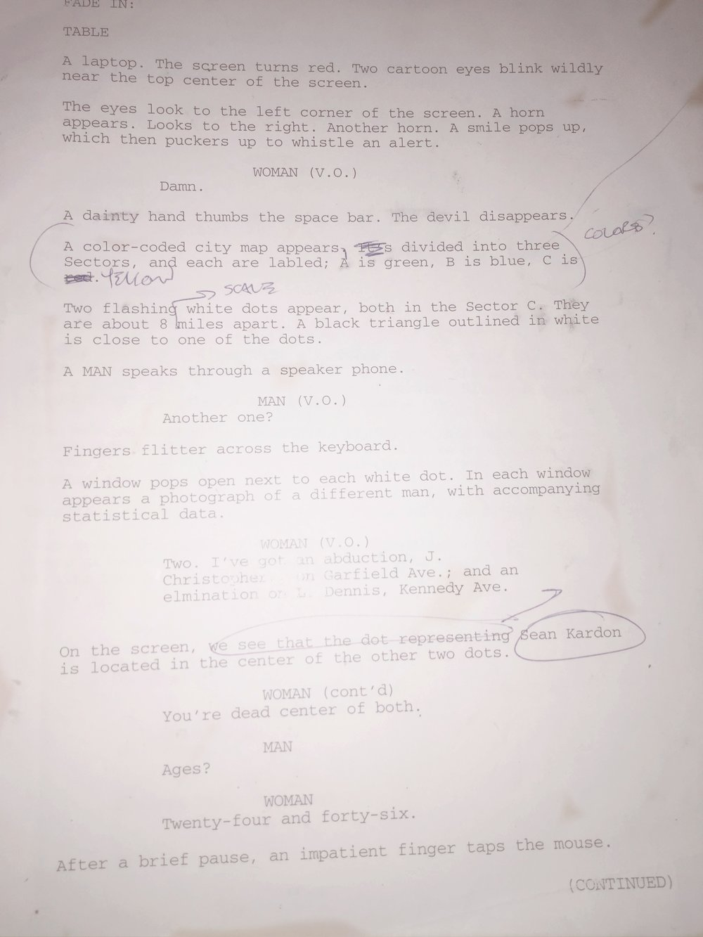 "Page 1 of the screenplay for ""Shifters,"" written (and printed out) in the late 90s."