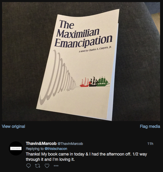 Raquel read The Maximilian Emancipation in 2 days!