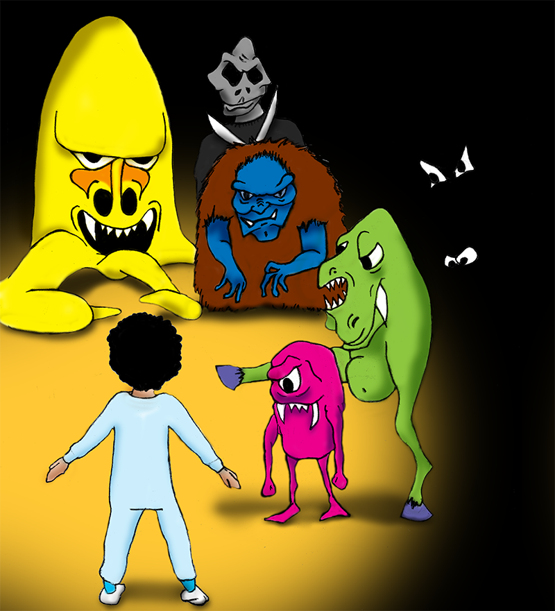 Oscar surrounded by monsters!