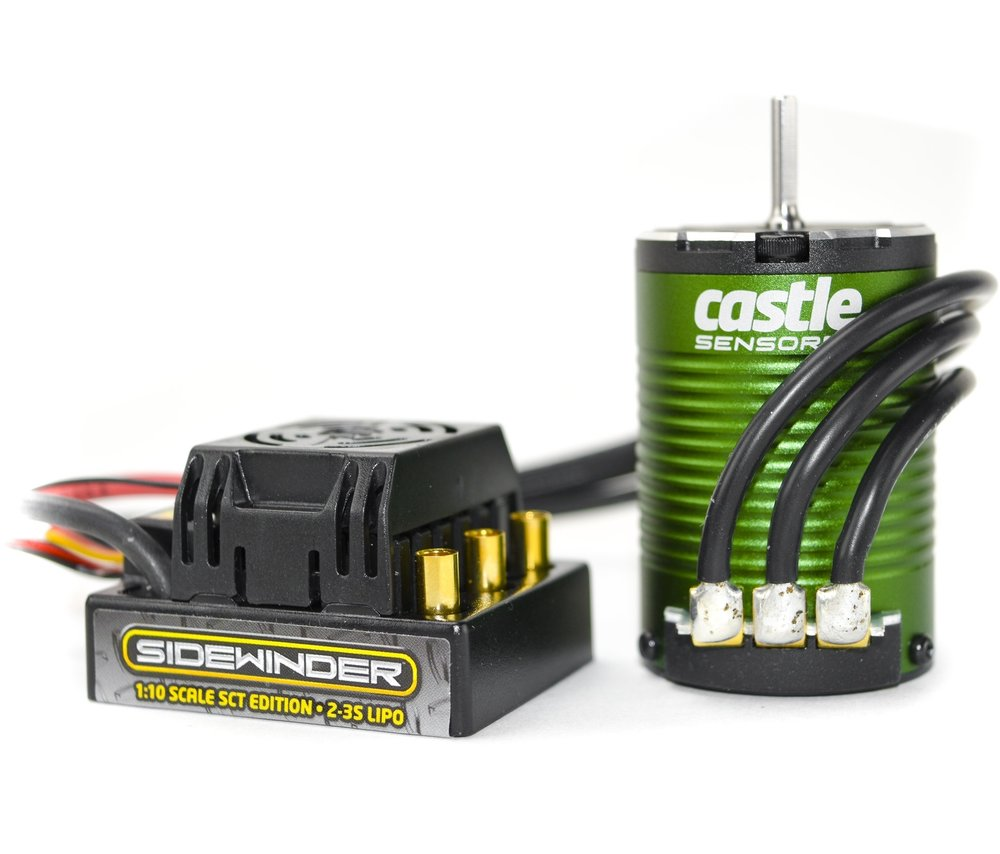 Sidewinder SCT Edition - sensorless combo - Sidewinder SCT is Castle's solution for anyone who needs an unbeatable combination of power and affordability in a special edition controller and motor combo made for Short Course Truck racing. Intended for short course trucks running on 2s LiPo and weighing up to 6.5 lbs. It is also a great system and a torque animal for lighter 1/10th scale 2WD stadium trucks and buggies running up to a 3s LiPo. The Sidewinder SCT Combo will give you exceptional response and performance right of the box!