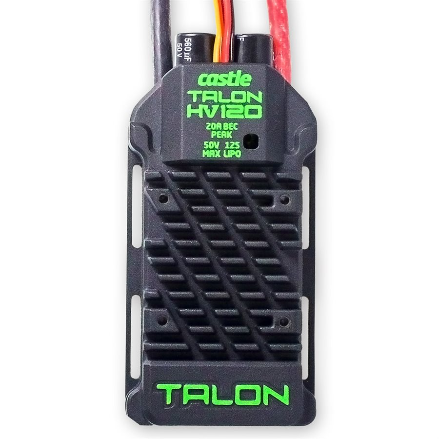 Talon HV 120 - The Biggest BEC on the Block!Talon HV 120 is the first high voltage controller to come out of the Castle factory with a built-in BEC. This powerhouse features a 20A peak BEC with selectable 6v or 8v output voltage. With a voltage input range from 3S to 12S LiPo, and a 120A continuous amperage capability, it's capable of up to 6000W of continuous power for a wide variety of heli and fixed wing applications. The sleek aluminum case keeps the ESC cool during high power demand situations. For set-ups with limited airflow, such as under canopies or in a fuselage, there is an optional 40mm fan (sold separately; operates at 4.8 - 7.4 volts). Talon HV 120 has access to Castle's industry leading software functions, and USB programming capability via Castle Link USB adapter (coupon included)*.