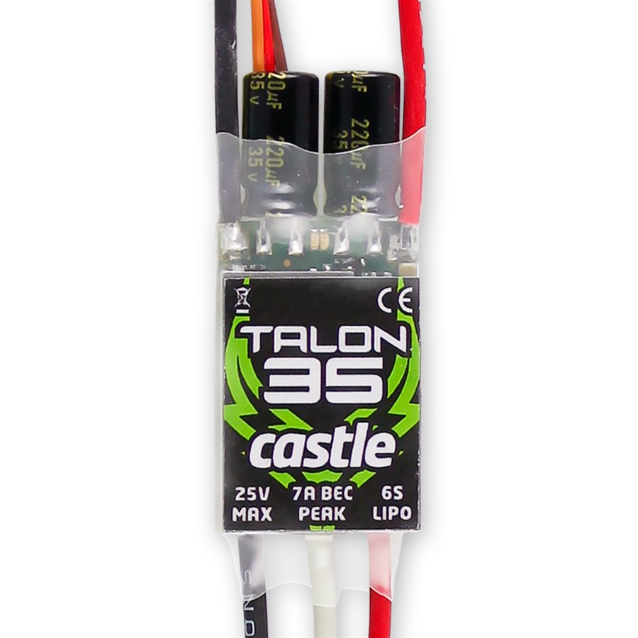 Talon 35 - Little Package, Big BEC.Talon 35 can take on the most extreme maneuvers while keeping it's cool, and is intended for use in 450 Heli setups running up to 6S, or .10 to .20 fixed wing applications pulling up to 35 amps. It boasts a 7 amp peak/5 amp continuous BEC, keeping even the most draining servos at ease. Talon 35 also offers Castle's industry-leading helicopter functions, not to mention easy programming using the Castle Link USB adapter (coupon included). The compact layout and thin profile make mounting Talon 35 simple and stress-free in any setup.