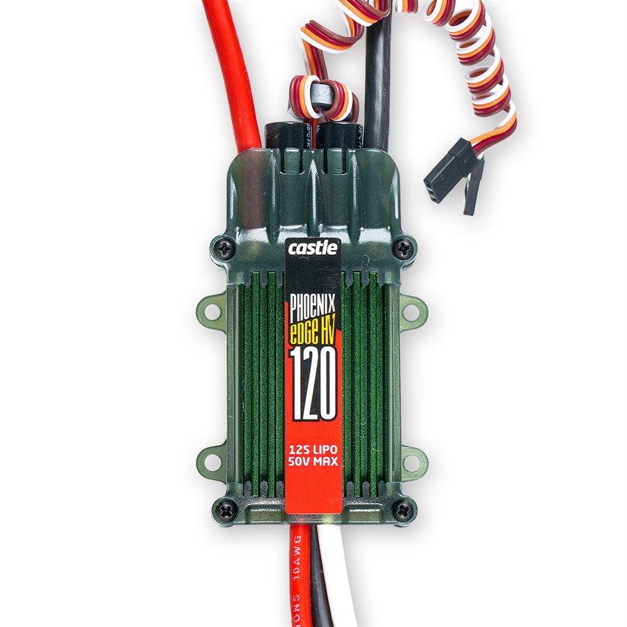 Phoenix Edge HV 120 - Telemetry Capable :YesESC Current Rating :120Data Logging :YesAuxiliary Wire :YesInternal BEC :NoMinimum Input Voltage :3SMaximum Input Voltage :12S