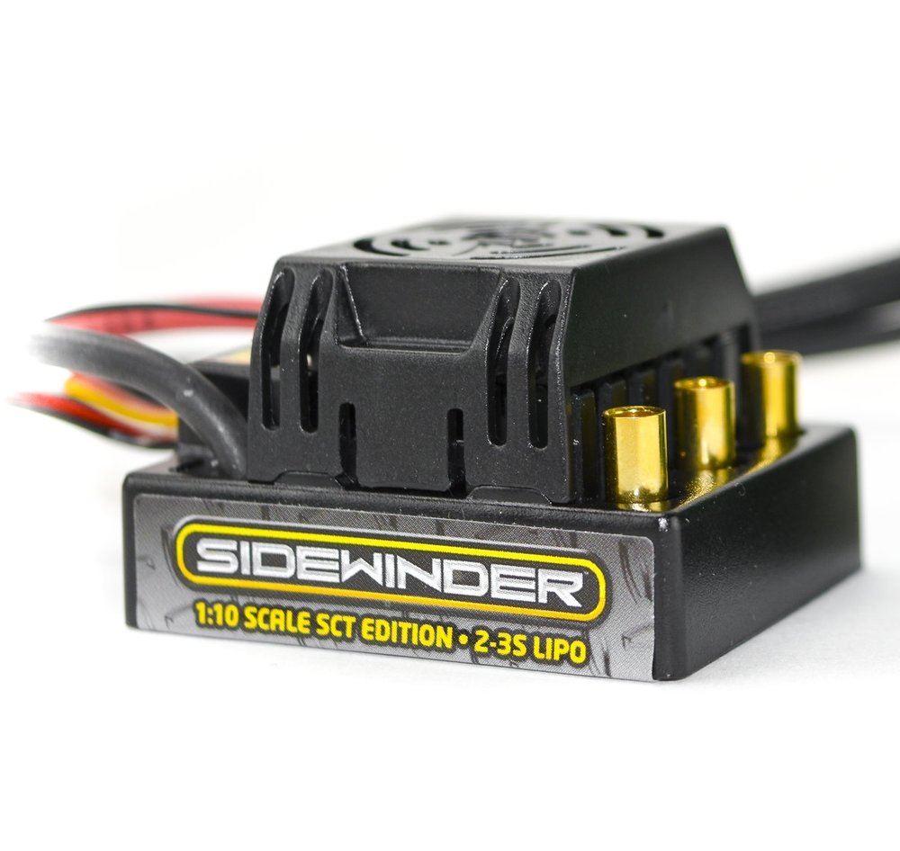 Sidewinder SCT - Sensorless - Sidewinder SCT is Castle's solution for anyone who needs an unbeatable combination of power and affordability in a special edition controller and motor combo made for Short Course Truck racing. Intended for short course trucks running on 2s LiPo and weighing up to 6.5 lbs. It is also a great system and a torque animal for lighter 1/10th scale 2WD stadium trucks and buggies running up to a 3s LiPo. The Sidewinder SCT Combo will give you exceptional response and performance right of the box!