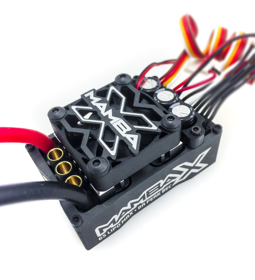 """Mamba X - Sensored - The Mamba X is our top-of-the-line, """"flagship"""" 1/10th scale ESC. It is packed with features and capabilities that make it one of the most versatile ESCs on the market. It includes features such as sensored operation, waterproof, 2-6s capable and powerful 8-amp BEC. With its versatility it can be run in a rock crawler all the way up to a 1/8th scale buggy on nearly any sensored or sensorless motor and even brushed motors!"""