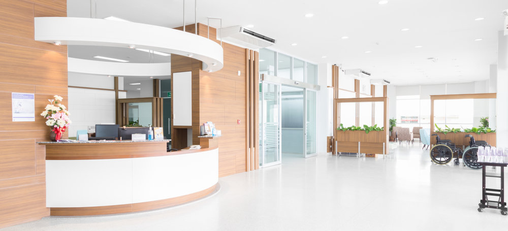 Modern healthcare facility waiting room, light and airy feel to it.