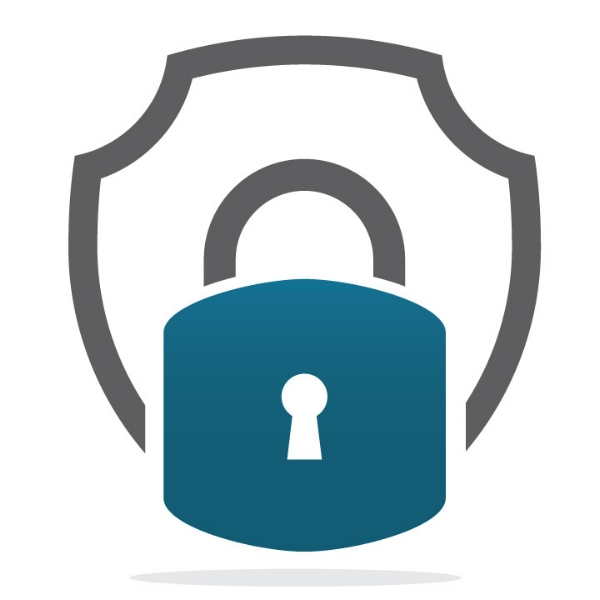 Lock and security icon in blue and grey.