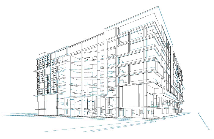 Architectural sketch and design of  a hospital building.