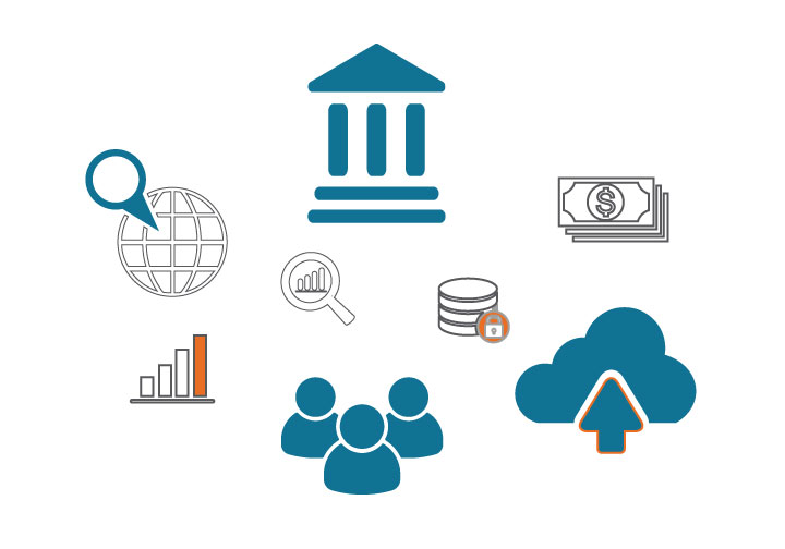 Multiple blue and orange icons including a court house, people, and magnifying glass that represent some of Probate Finder OnDemand's features.