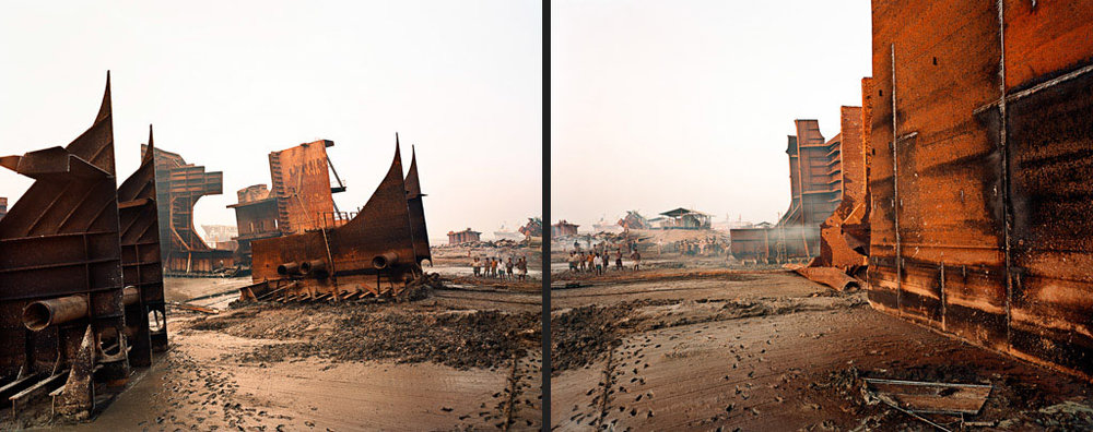 Shipbreaking #9ab diptych  Chittagong, Bangladesh 2000
