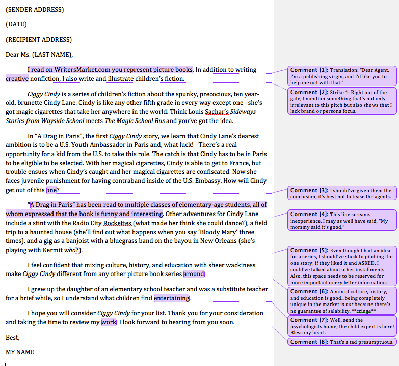 Why my first query letter failed vonnie york creative editing services query letterg altavistaventures Images