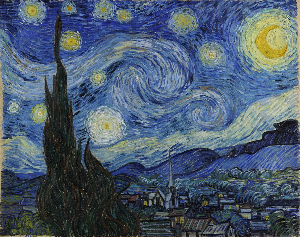 "Vincent Van Gogh's  Starry Night,  oil on canvas. Old. Old enough to make your grandma feel young. Worth more than your neighborhood, probably. ""It's nice, but I don't see us living there."""