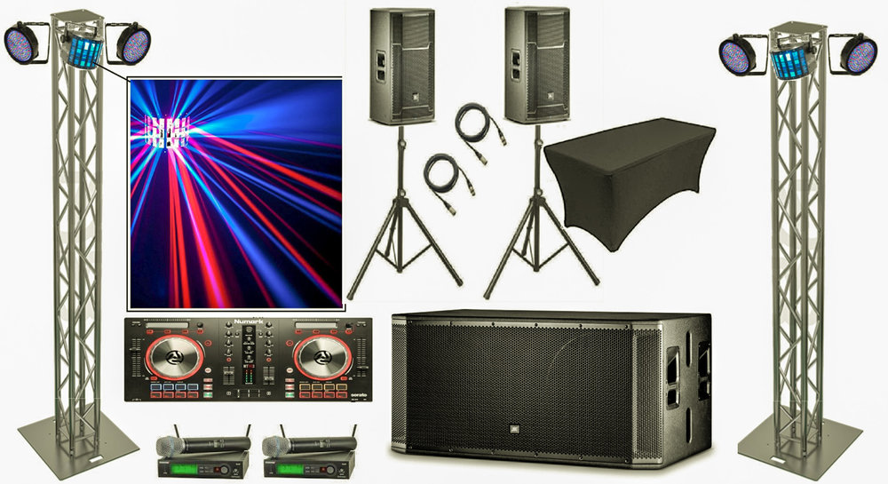 "Premium DJ Package $750.00 - Edmosound premium DJ package comes with:DJ, 4 hours2 10' Global Truss TowerNumark Mixtrack pro 3 DJ Mixer1 Mixer table2 JBL PRX 15"" speakers1 JBL SRX dual 18"