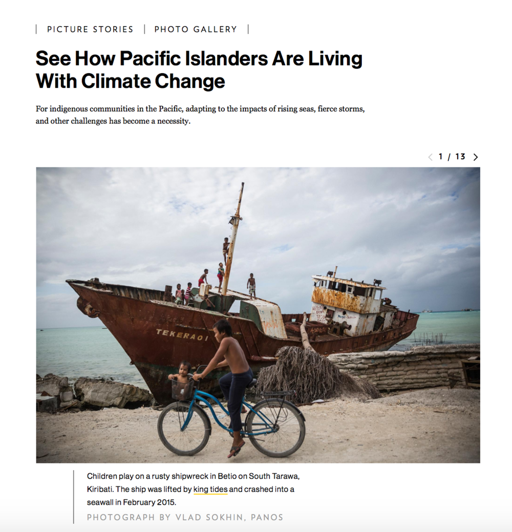 See How Pacific Islanders are Living with Climate Change  - Profile of Photographer Vlad Sokhin's work, Published 2.9.2017