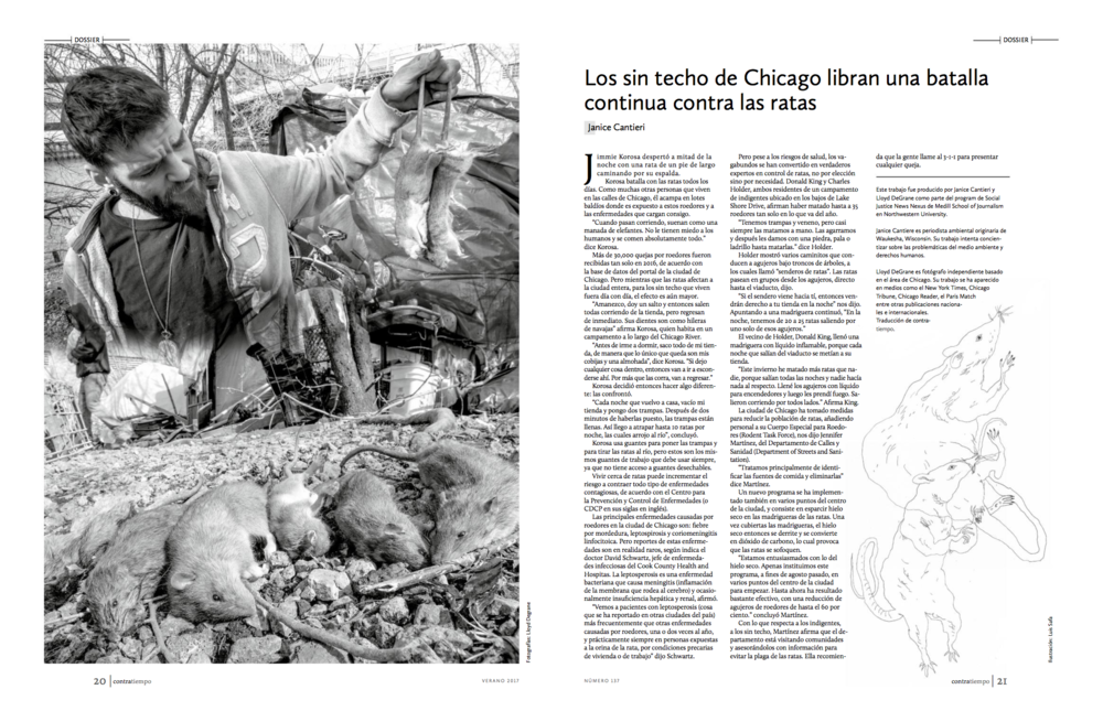 Los sin techo de Chicago libran una batalla continua contra las ratas - (Chicago's homeless fight a continuing war on rats) Photographs by Lloyd DeGrane