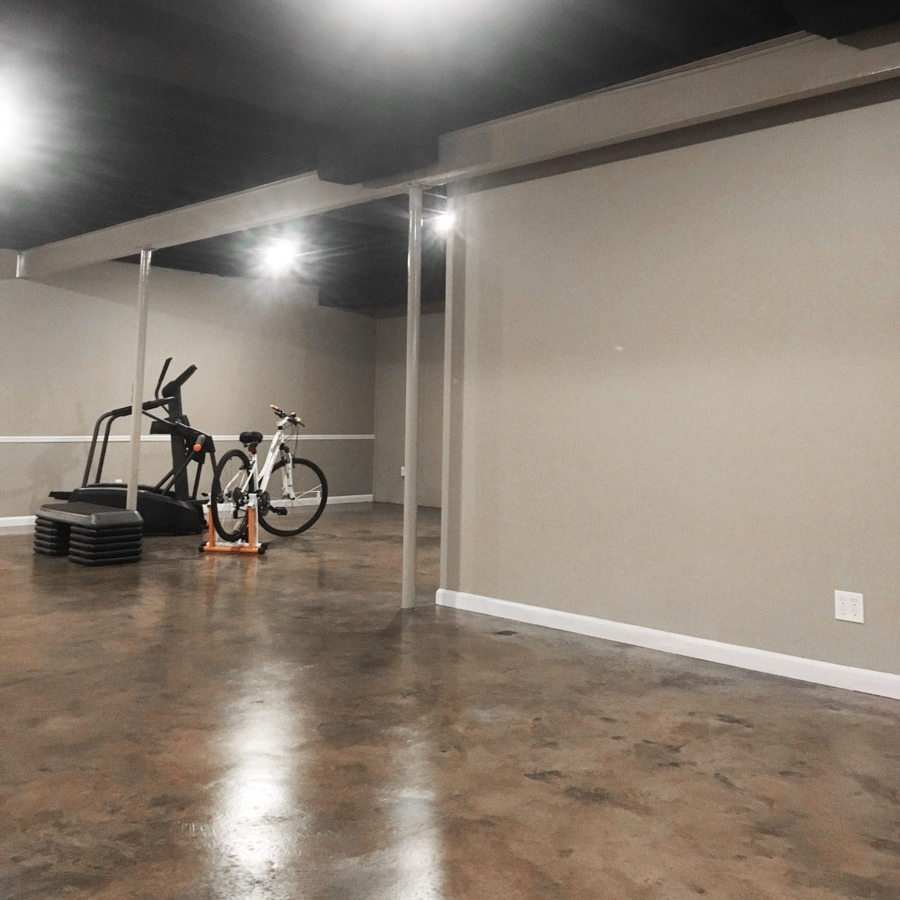Renovated Basement with Newly Painted Walls