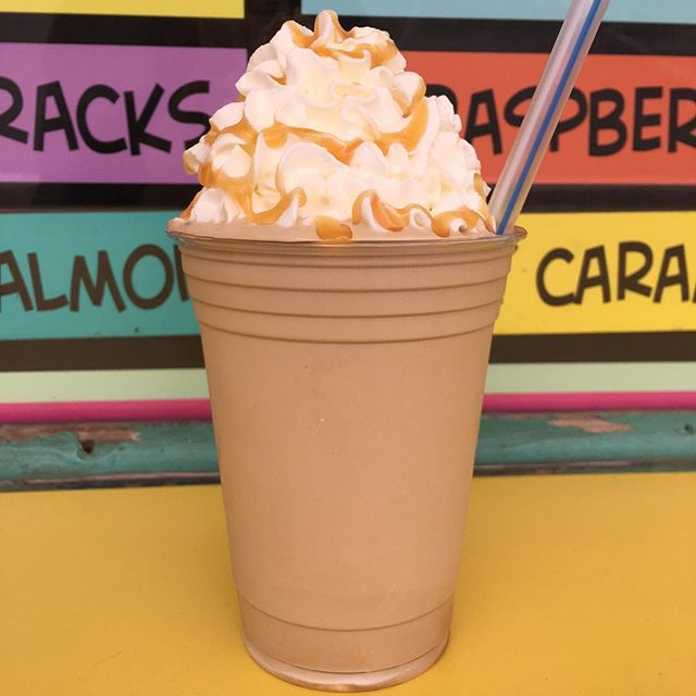 Can't shake the weather so the Shake of the Day- is a Caramel Latte! Vanilla soft serve with our espresso flavoring and added caramel!! It's $1 off our normal shake price! ☕️🍦