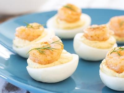 Coastal Deviled Eggs with Shrimp