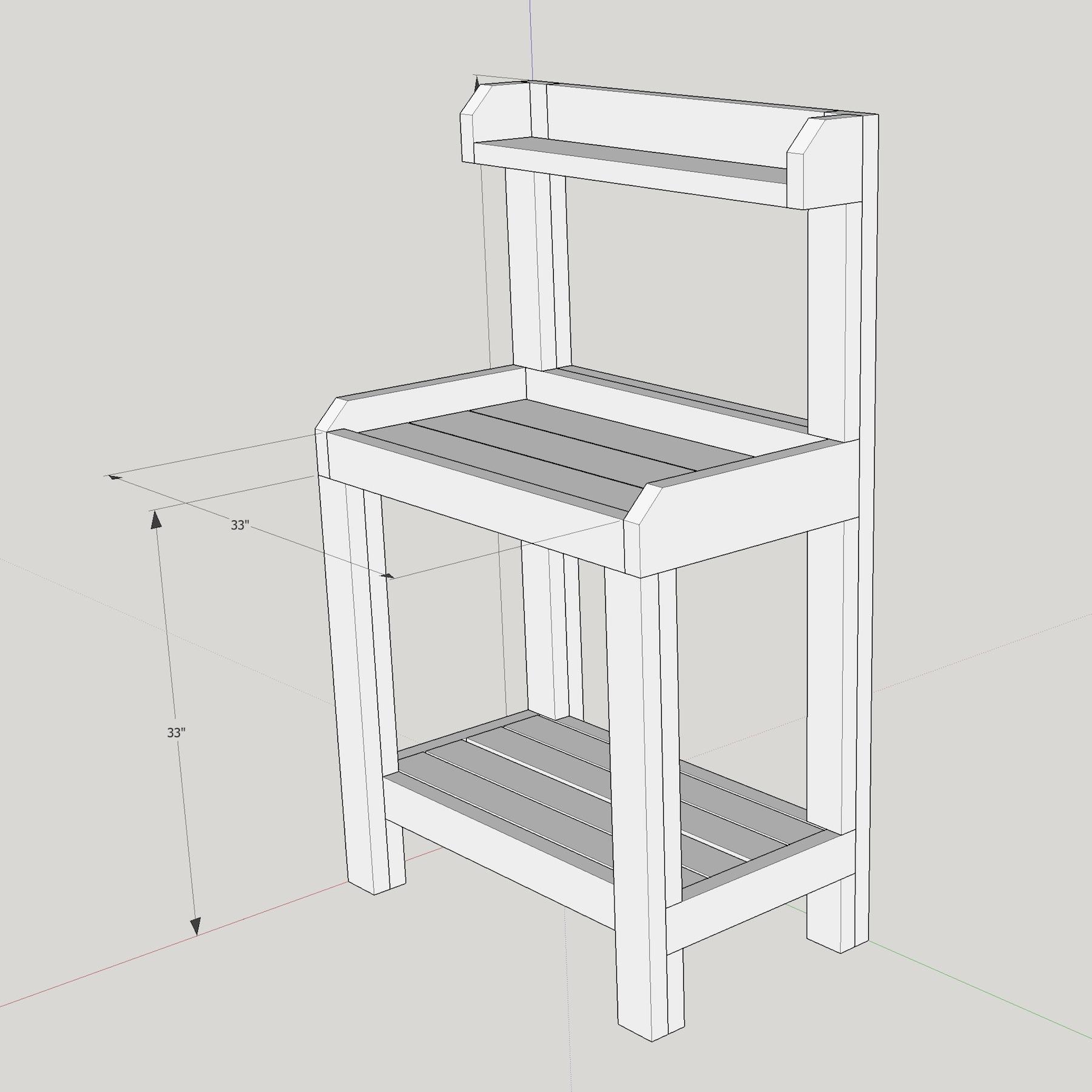 potting bench diy sketchup