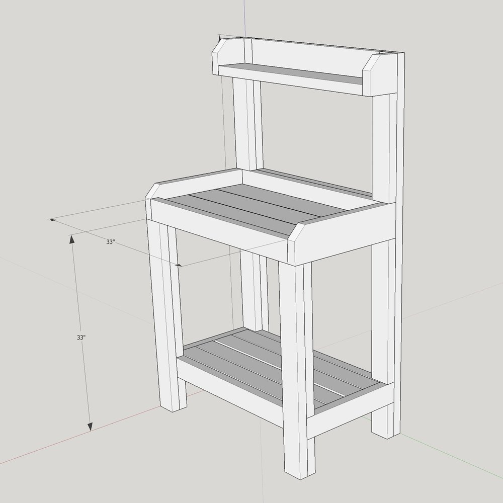 potting bench diy sketchup