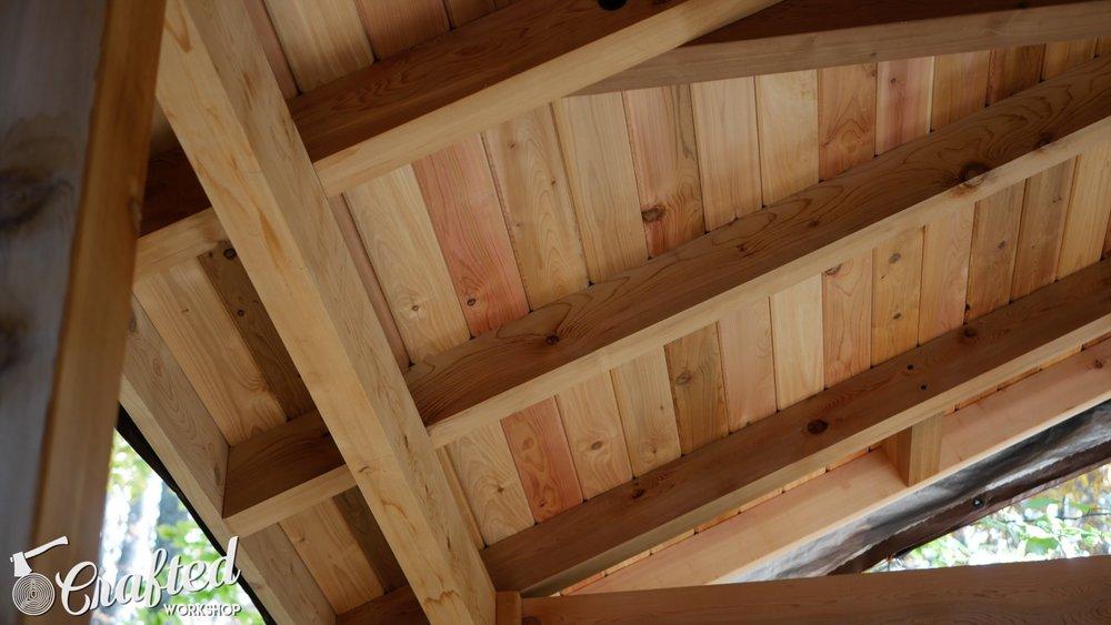 western red cedar screen in porch