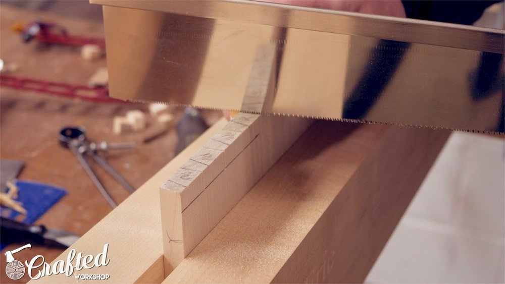 cutting the pins in hand cut dovetails using japanese pull saw