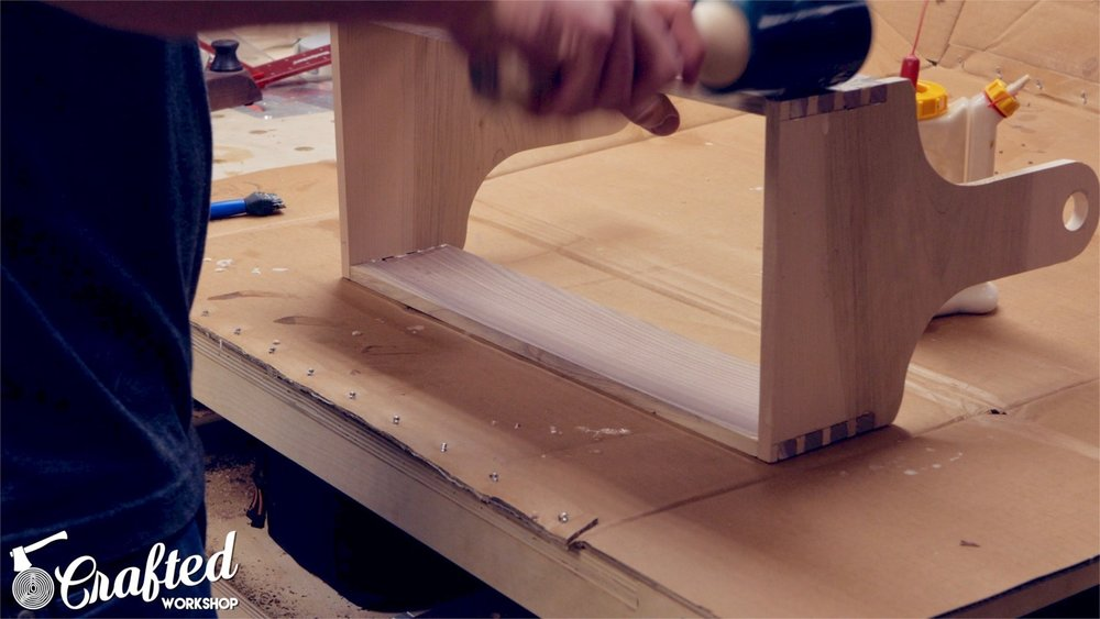 gluing together hand cut dovetail box