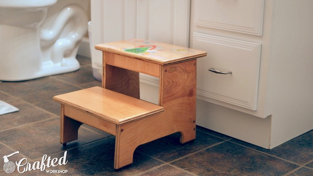 kid's step stool finished woodworking project